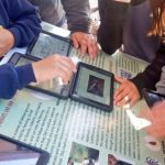 science students with electronic tablet