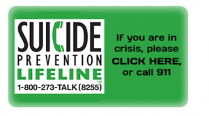 SUICIDE Prevention Lifeline 1-800-273-TALK (8255) If you are in crisis, please CLICK HERE, or call 911